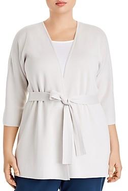 Eileen Fisher Plus Silk & Organic Cotton Belted Cardigan