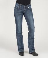 Stetson Blue Pieced Arrow-Accent Back Pocket Straight-Leg Jeans - Women's