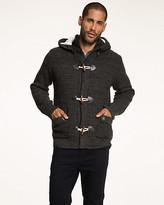 Le Château Acrylic Sweater Jacket with Faux Fur Trim