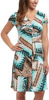Aqua Abstract Twist V-Neck Dress - Plus Too