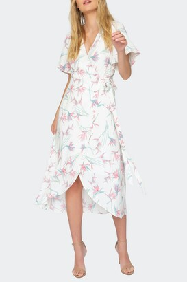 Tart Clarinda Floral Flutter Sleeve Midi Wrap Dress