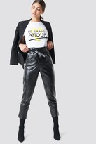 NA-KD Paperwaist Patent Leather Pants Black