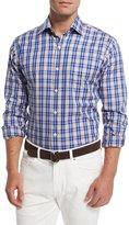 Peter Millar Prince Plaid Long-Sleeve Sport Shirt, Navy