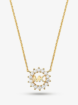 Michael Kors Precious Metal Plated Sterling-Silver Logo Necklace - Gold
