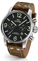 TW Steel Men's Maverick Chronograph Leather Strap Watch, 48Mm