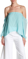 Nicole Miller Off-The-Shoulder Silk Shirt