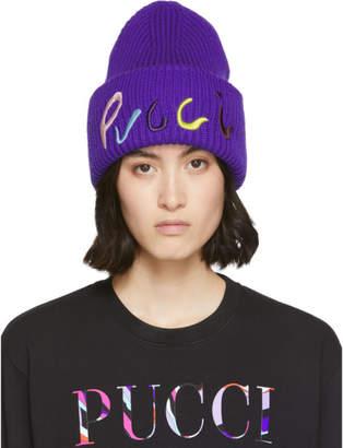 Emilio Pucci Purple Logo Embroidered Ribbed Beanie