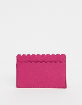 Paul Costelloe Leather Scalloped Edge Card Holder In Hot Pink