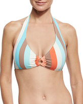 Letarte Halter Top w/ Logo Ring, Multistripe