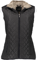 Weatherproof Black Faux Fur Quilted Vest - Plus