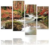 "Live Art Decor - Forest Canvas Wall Art,Isolated Rock into Stream,Autumn Forest Pictures Giclee Print on Canvas,Modern Wall Decor- 48""W x 32""H overall"