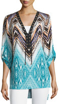 Alberto Makali Printed Lace-Up 3/4-Sleeve Top, Aqua