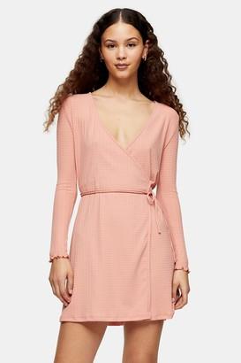Topshop Seersucker Wrap Mini Dress