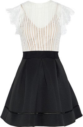 Catherine Deane Ina Lace And Pleated Neoprene Mini Dress