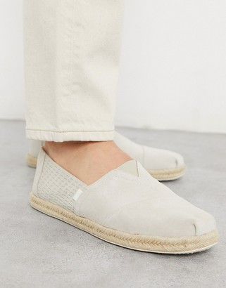 Toms espadrilles in grey embossed suede with rope detail