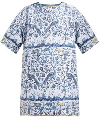 Marques Almeida Marques'almeida - Peacock-jacquard T-shirt Dress - Womens - Blue Multi