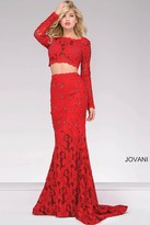 Jovani Long Two Piece Lace Fitted Prom Dress 26730
