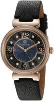 Cabochon Women's 'Saga' Quartz Stainless Steel and Leather Casual Watch (Model 16561-RG-01)