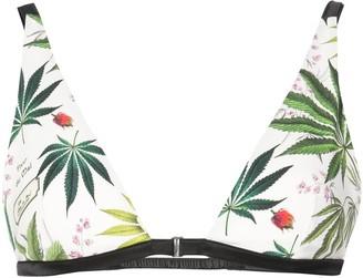 Fleur Du Mal Palm Print Georgette Bra