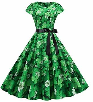 Yize Womens Vintage 50s Rockabilly Halter Dress ST Patrick's Day Shamrock Dress (Type 4 L)