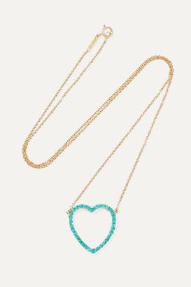 Jennifer Meyer Open Heart 18-karat Gold Turquoise Necklace