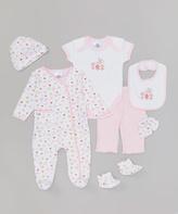 SpaSilk Pink Heart Seven-Piece Layette Set