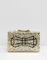 Ted Baker Gold Glitter Box Clutch Bag With Bow