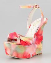 Alice + Olivia Ilisa Watercolor-Print Wedge Sandal
