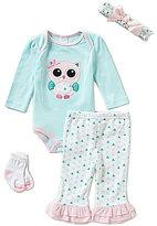 Starting Out Baby Girls Newborn-9 Months Owl-Appliqued 4-Piece Layette Set
