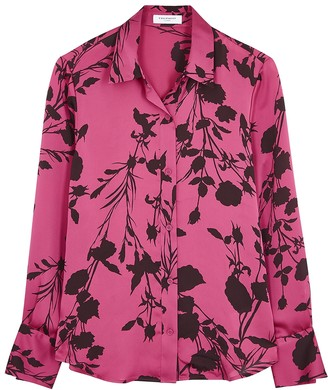 Equipment Sedienne Pink Floral-print Satin Blouse