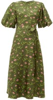 Borgo de Nor Romini Carnation-print Silk Midi Dress - Womens - Khaki Multi