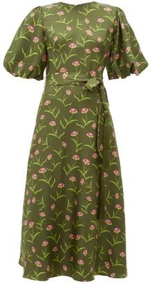 Borgo de Nor Romini Carnation-print Silk Midi Dress - Womens - Khaki Multi