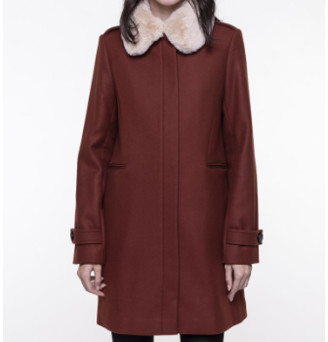 Trench & Coat - Brick Red Seyond Detachable Collar Coat - 38