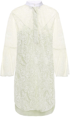Valentino Pique-trimmed Lace Mini Dress