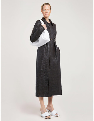 Bottega Veneta Braided-texture loose-fit leather coat