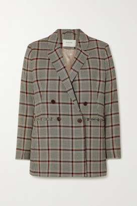 MUNTHE Lyle Double-breasted Checked Woven Blazer - Gray