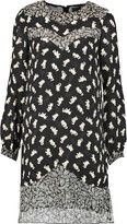 Anna Sui Shadow Cats printed silk chiffon-paneled georgette mini dress