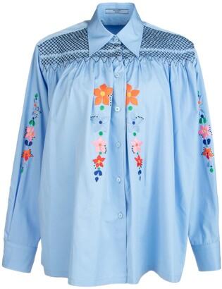 Prada Floral Embroidered Smock Shirt