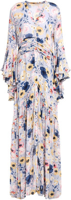 By Ti Mo Ruched Gathered Floral-print Crepe Maxi Dress