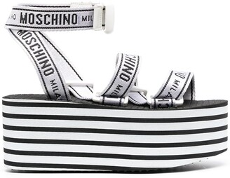 Moschino Horizontal-Stripe Flatform Sandals