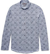 Michael Kors Slim-fit Cutaway-collar Printed Cotton-poplin Shirt - Navy