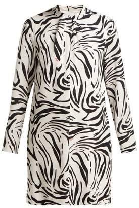 MSGM Zebra-print Mini Dress - Womens - Black White