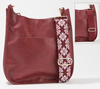 Ah-dorned Large Faux Leather Crossbody with Extra Strap