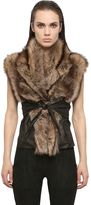 Rick Owens Hun Kangaroo Leather & Fisher Fur Wrap