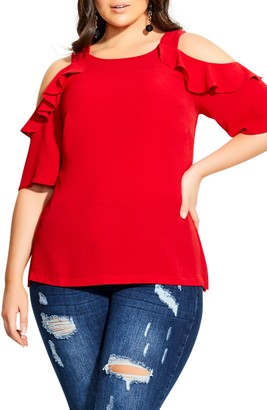 City Chic Wild Sleeve Cold Shoulder Top