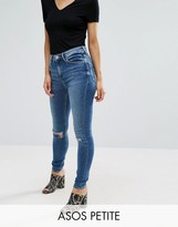Asos Ridley Skinny Jeans in Darmera Mid Stone Wash with Busted Knees