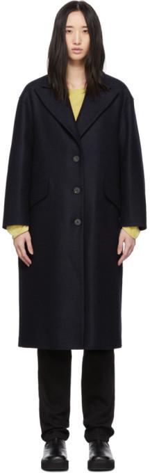 Harris Wharf London Navy Pressed Wool Oversized Great Coat