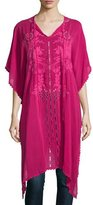 Johnny Was Yoko Half-Sleeve Embroidered Drama Caftan, Pomegranate