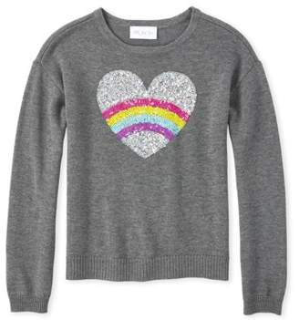 Children's Place The Girls 4-16 Rainbow Heart Graphic Sequin Long Sleeve Sweater