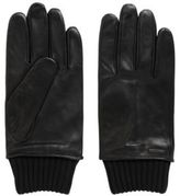 HUGO BOSS Lambskin leather gloves with knitted cuffs